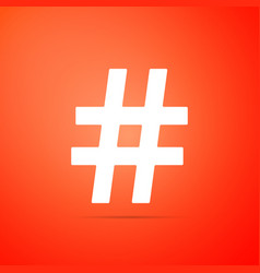 hashtag icon isolated on orange background vector image