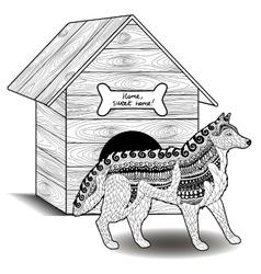 High detail patterned Husky vector image