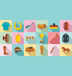 Horseback riding icon set flat style vector