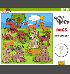 How many dogs educational cartoon game for vector