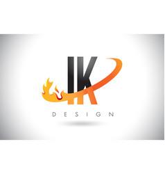 ik i k letter logo with fire flames design and vector image