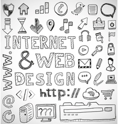 Internet and web design hand drawn doodles vector