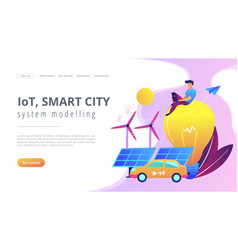 Iot smart city and system modelling landing page vector