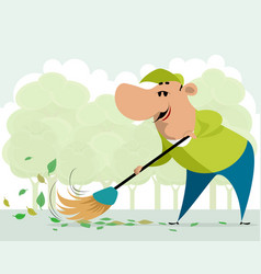 janitor sweeping on the street vector image
