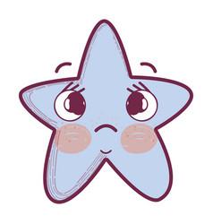 Kawaii sad star with cheeks and eyes vector
