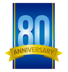 Label for 80th anniversary vector