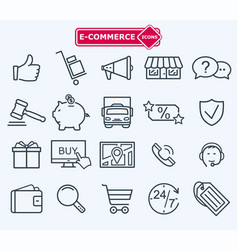 Lines icons set e-commerce shopping vector