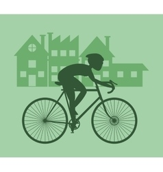Man riding bike and city background design vector image