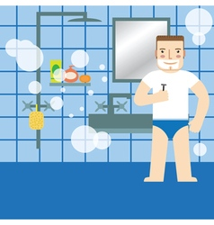 Man shaving in the bathroom vector image