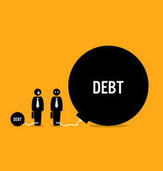 Man surprised other people huge debt artwork vector