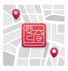 map logo icon with red gradient color vector image