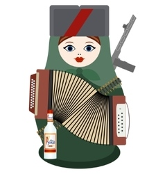 Matryoshka with an accordion a gun and vodka vector