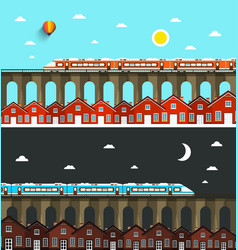 modern train on bridge above city with houses vector image