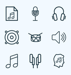 Music outlines set collection of earphones cover vector