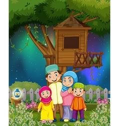 Muslim family in the garden at night vector image