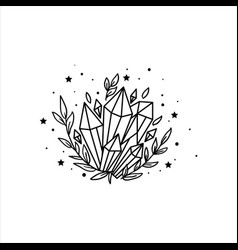 mystical crystal and stars stars constellations vector image