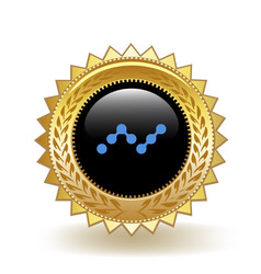 Nano cryptocurrency coin gold badge vector