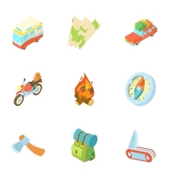 Nature trip icons set cartoon style vector