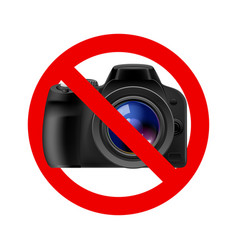 No camera allowed sign on white background vector