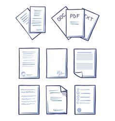 Office papers documents and files set icons vector