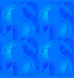 pattern of neon feathers and leaves on a blue vector image
