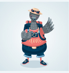 pigeon tourist humanized dove traveler cartoon vector image