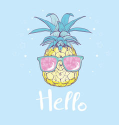 Pineapple with glasses tropical design exotic vector