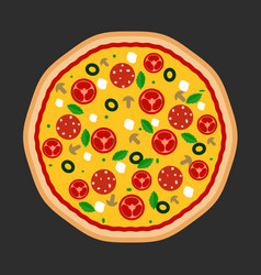 pizza flat icons isolated on dark vector image
