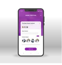 purple music festival ui ux gui screen for mobile vector image