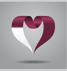 Qatari flag heart-shaped ribbon vector