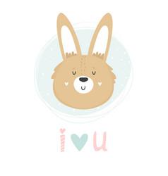 Rabbit hand drawn face character vector