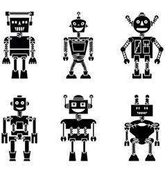 Retro robots black silhouette set vector image
