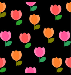 seamless colorful tulip flowers pattern on black vector image