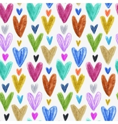 Seamless pattern with colored hand drawn hearts vector image