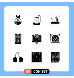 Set 9 solid glyphs on grid for olympic vector