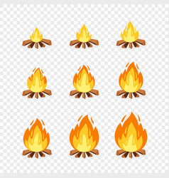 set camp fire sprites for animation vector image