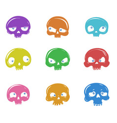 set of cartoon skulls vector image
