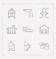 set of interior icons line style symbols with vector image