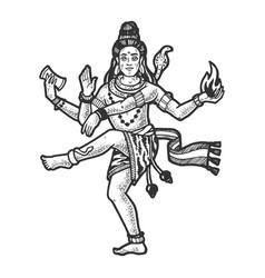 Shiva indian god engraving vector