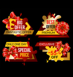 shopping stickers set offer and discount vector image