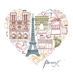 Sketches about france and paris in shape vector