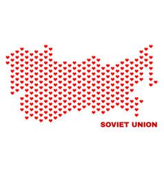 soviet union map - mosaic of heart hearts vector image