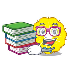Student with book pineapple slice isolated on vector