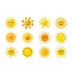 sun emoji funny summer spring sunshine rays vector image