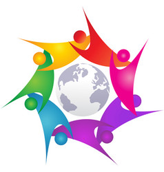 Teamwork swoosh people around world logo vector
