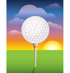 Teed Golf Ball at Sunrise vector image