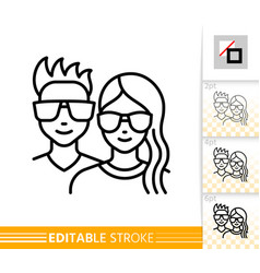 Teenager avatar girl and guy face line icon vector