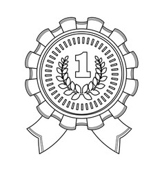the award for first placegold medal with the red vector image