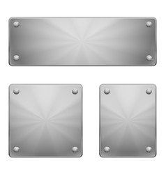 Three shiny metal plates different size vector