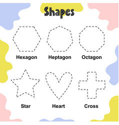 Tracing shapes worksheet for kids hexagon vector